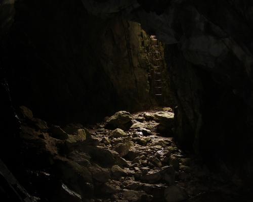 Jaskinia Raptawicka - drabinka do wyjścia