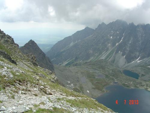 Widok z Mięguszowieckiej Przełęczy na Słowacje
